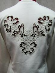 Woman's jacket with lace free embroidery design