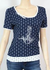 Womens blouse with anchor embroidery design