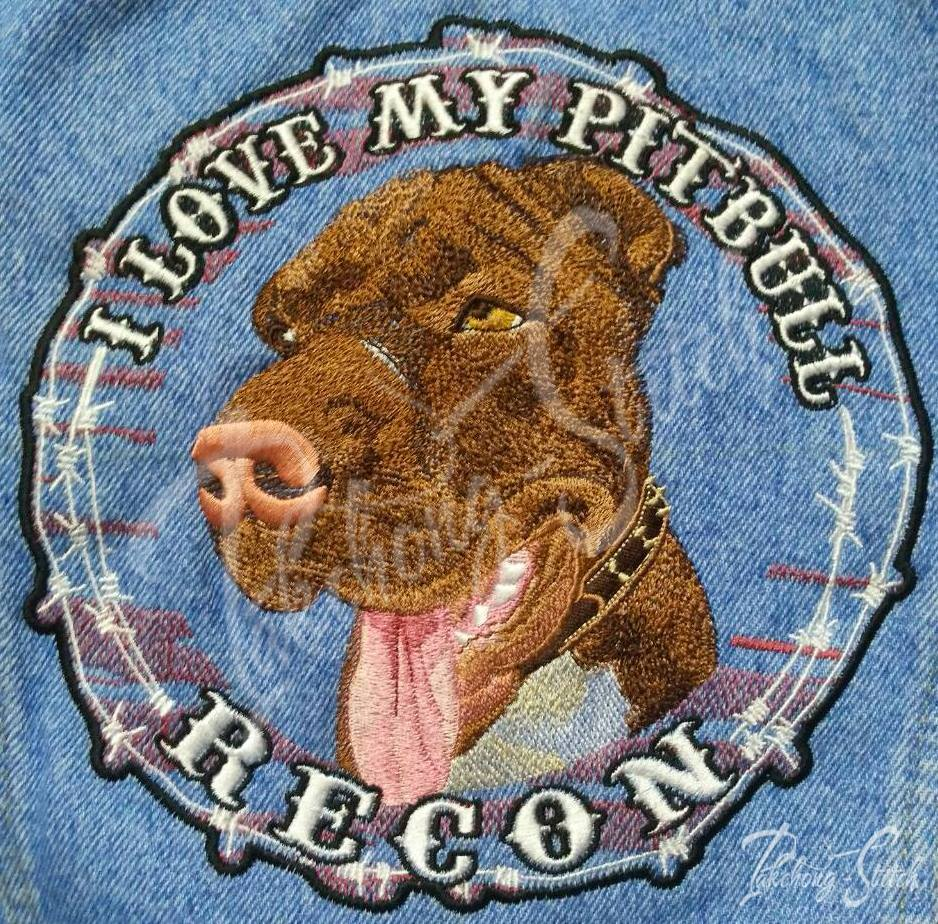 Pitbull dog head embroidery design