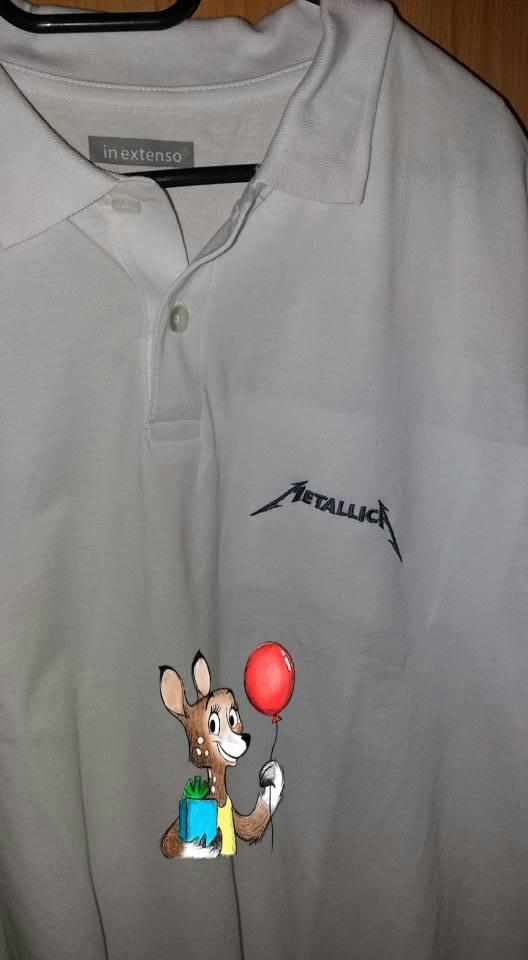 Embroidered T-shirt with metallica logo