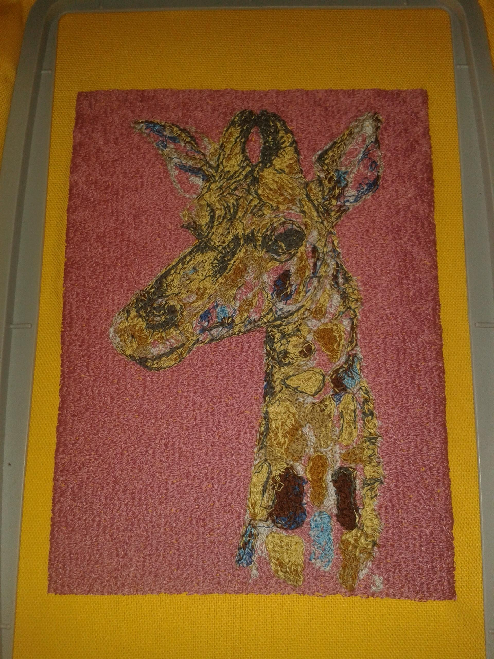 Carpet with Head of giraffe embroidery design