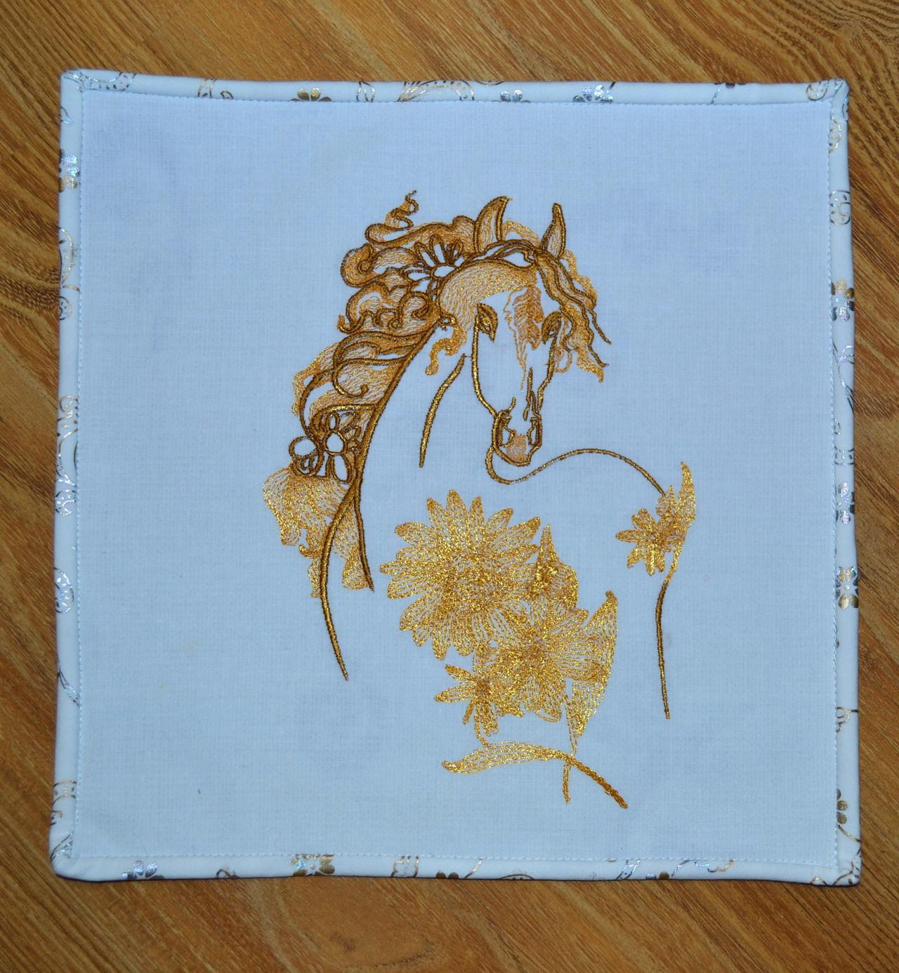 Napkin with Horse in flowers embroidery design