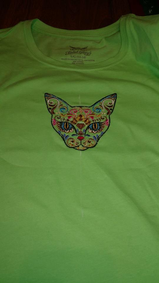 Mexican cat on the t-shirt machine embroidery design