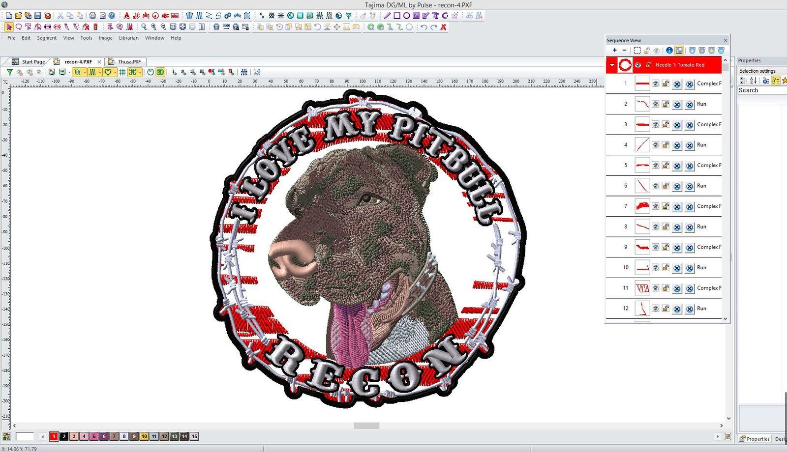 Pitbull dog head embroidery Tajima DG/ML by Pulse Screenshot