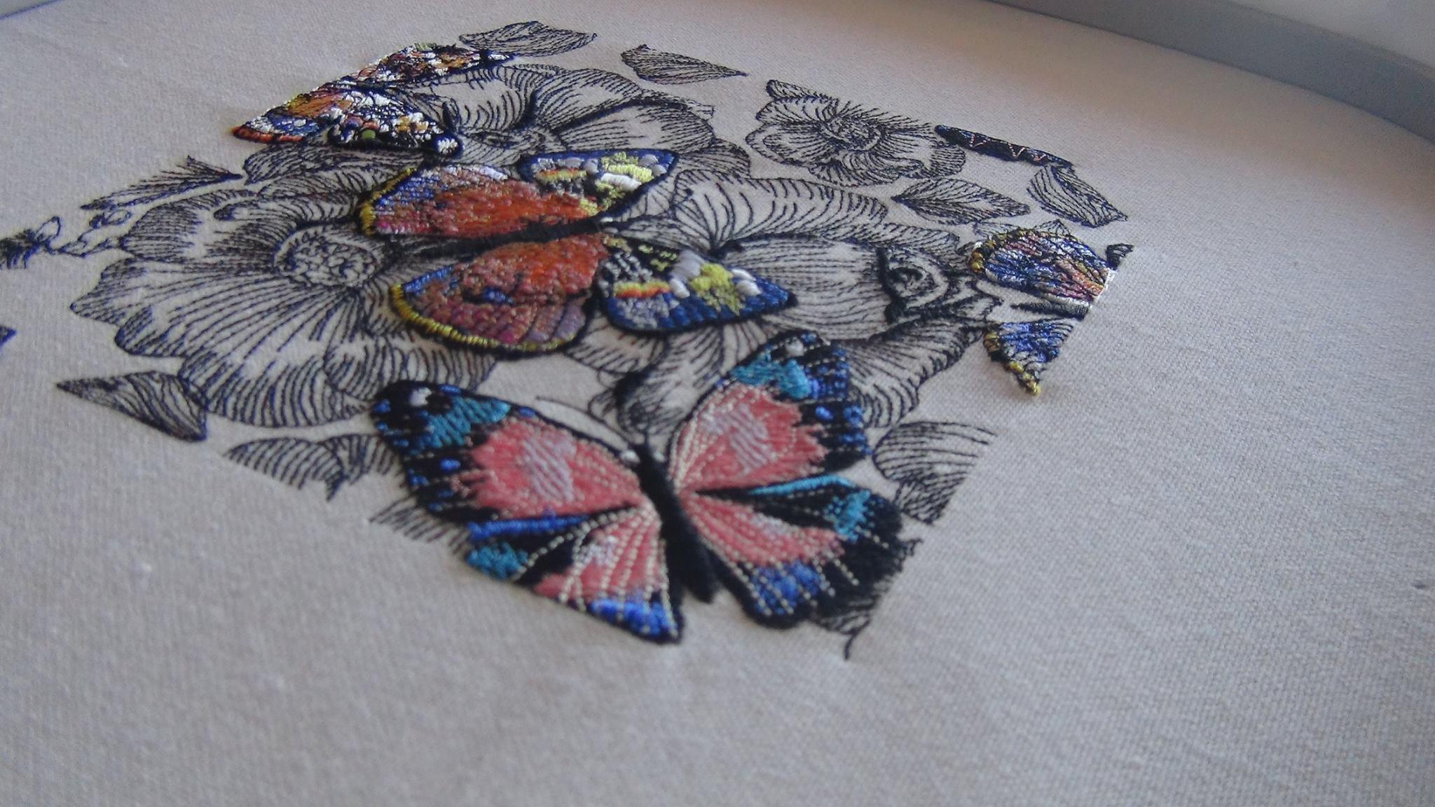 Napkin with Gorgeous butterfly embroidery design