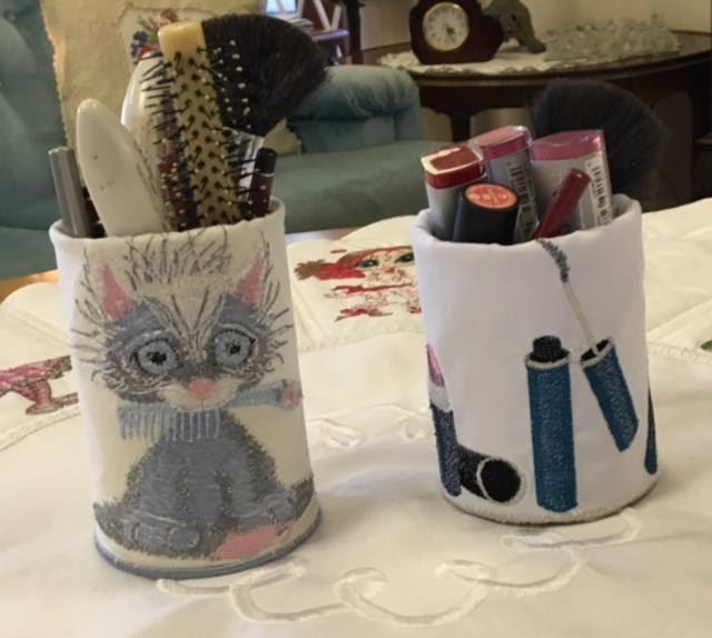 Pencils glass with cute kitty free embroidery design