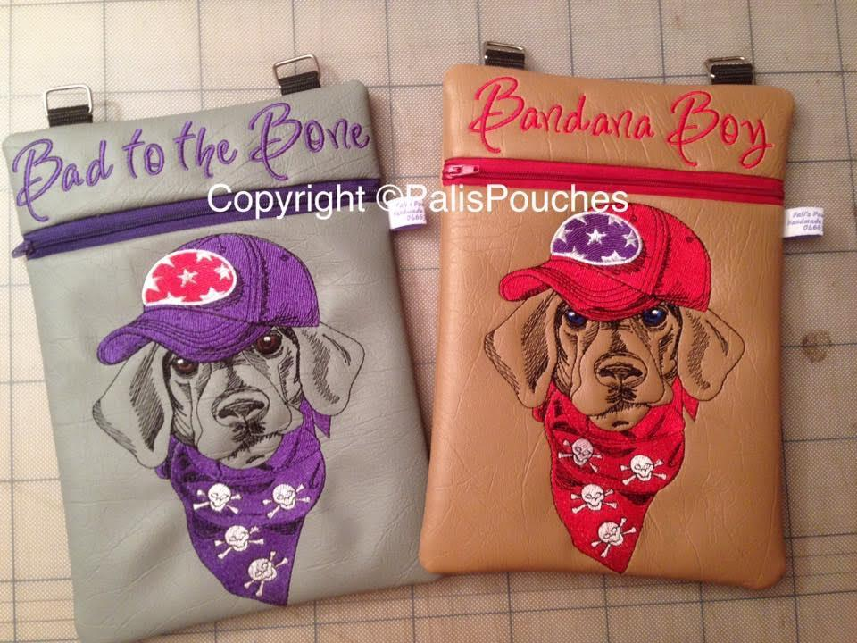 Leather mobile case with Stylish dachshund embroidery design