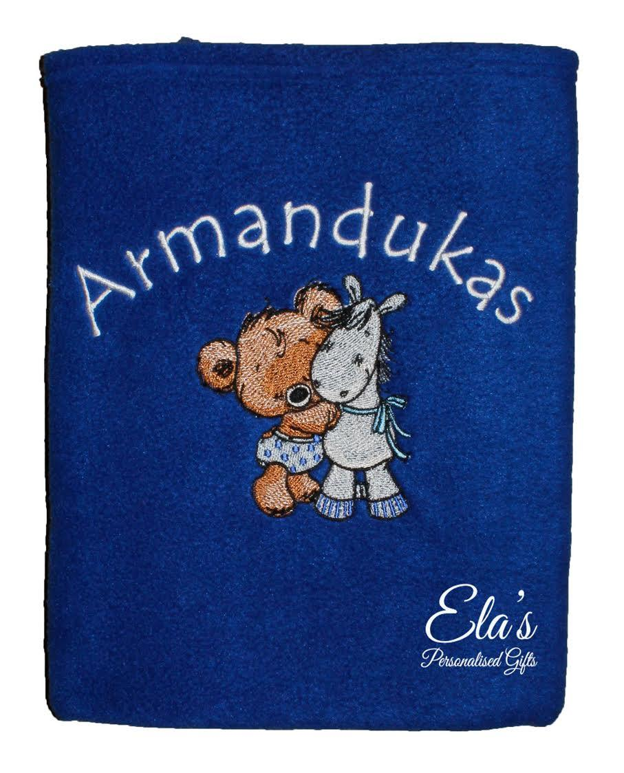 Embroidered blanket with Tiny bear and pony