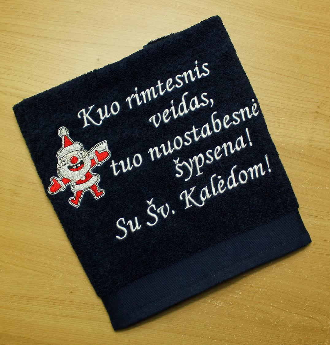 Terry towel with embroidered Crazy Santa design