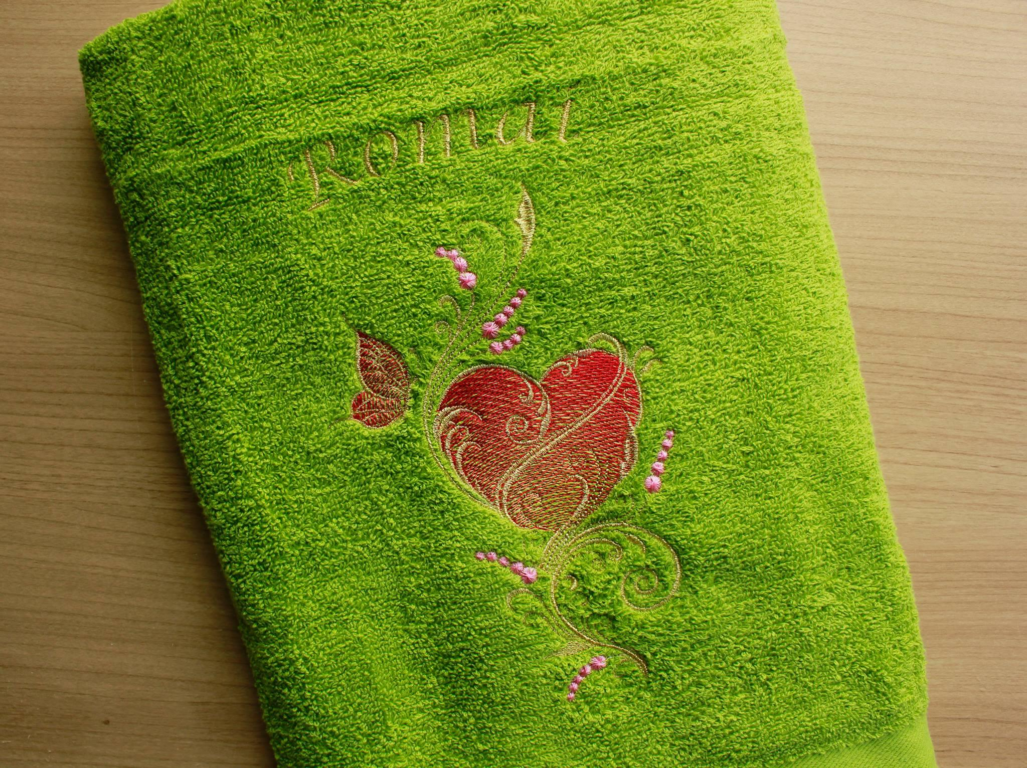 Bathroom towel with Gold heart and butterfly free machine embroidery design