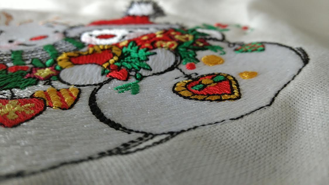 Snowman with Christmas toy embroidery design