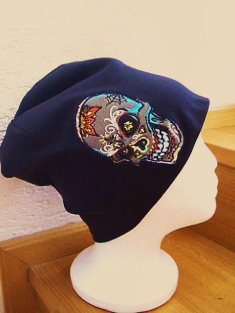 Knitted hat with Tattooed scull embroidery design