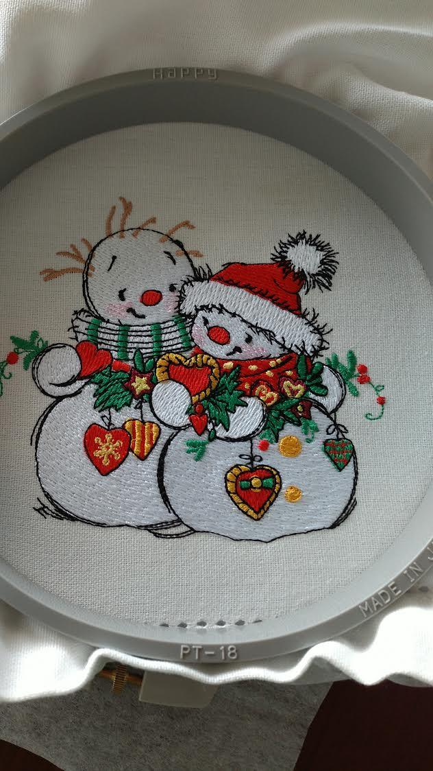 In hoop two snowmen embroidery design
