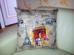 Cushion with Paris France embroidery design