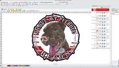 Pitbull dog head embroidery Tajima DG/ML by Pulse Screenshot