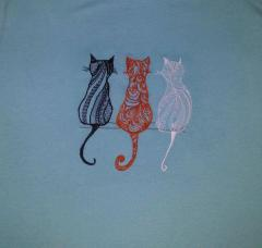 Three cats machine embroidery design