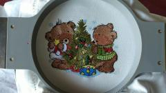 In hoop Bears and Christmas tree embroidery design
