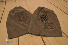 Winter hat with dogs embroidery designs