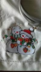 Napkin with Сouple of snowmen embroidery design