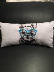 Cushion with dog glasses embroidery design
