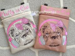 Two small cases with stylish pug-dog embroidery design