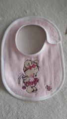 Embroidered bib with Teddy bear girl design