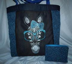 Bags with Zebra free embroidery design