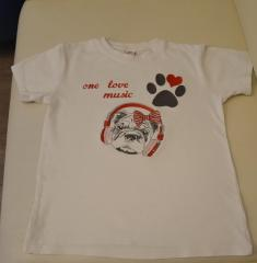 T-shirt with embroidered dog in headphones design