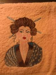 Towel with Geisha with Hairpin embroidery design