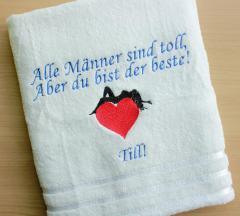 Embroidered towel with  I'm in Your Heart design