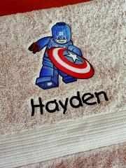 Embroidered towel with LEGO Captain America