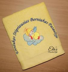 Embroidered towel with sleeping angel design