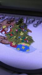 Embroidering bear and Christmas tree design