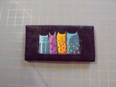 Mobile case with funny cat embroidery design
