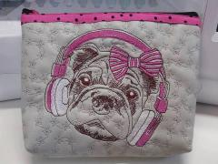 Small bag with Stylish pug-dog with headphones embroidery design