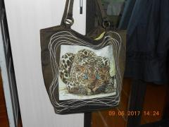 Bag with Leo big cat photo stitch free embroidery design