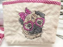 Small bag with posh pug-dog machine embroidery design