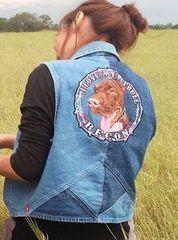 dog head embroidery design on jacket