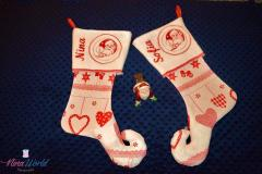 Christmas socks with Santa Claus embroidery design
