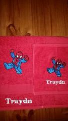 Set of towels with Lego Spiderman embroidery design
