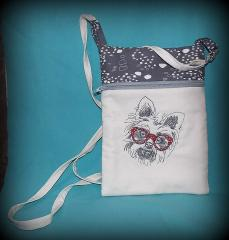 Small bag with white terrier machine embroidery design