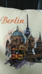 Cushion with View of Berlin embroidery design