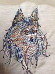 Mosaic wolf embroidery design