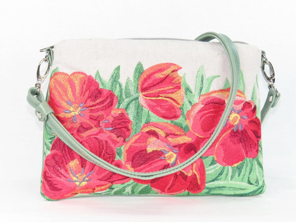 Leather and Tapestry Red Tulips Cross Body Bag.JPG