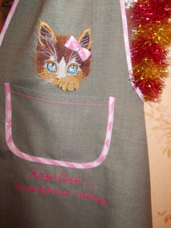 kitchen apron with kitty embroidery