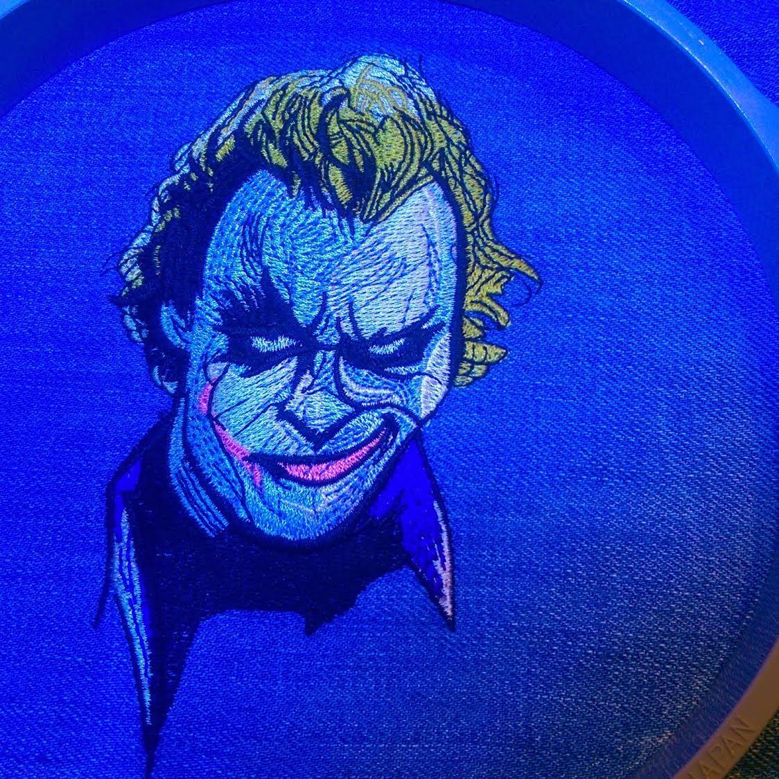 In hoop Close up joker's smirk embroidery design