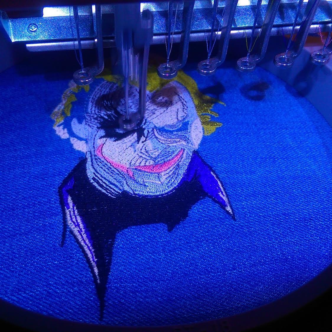 Making Joker's smirk embroidery design