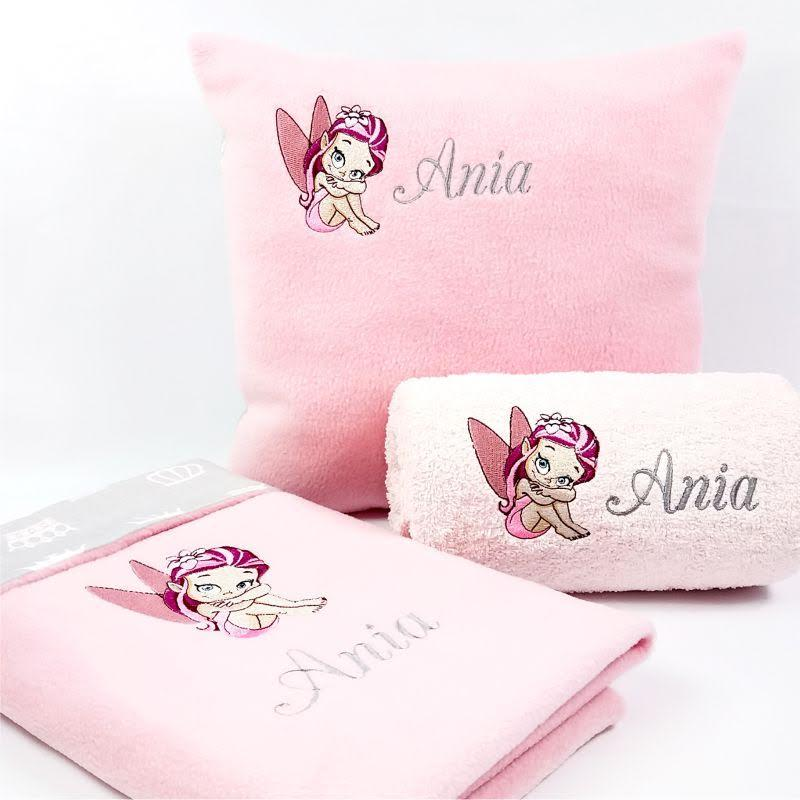Bed linen set with little fairy embroidery design