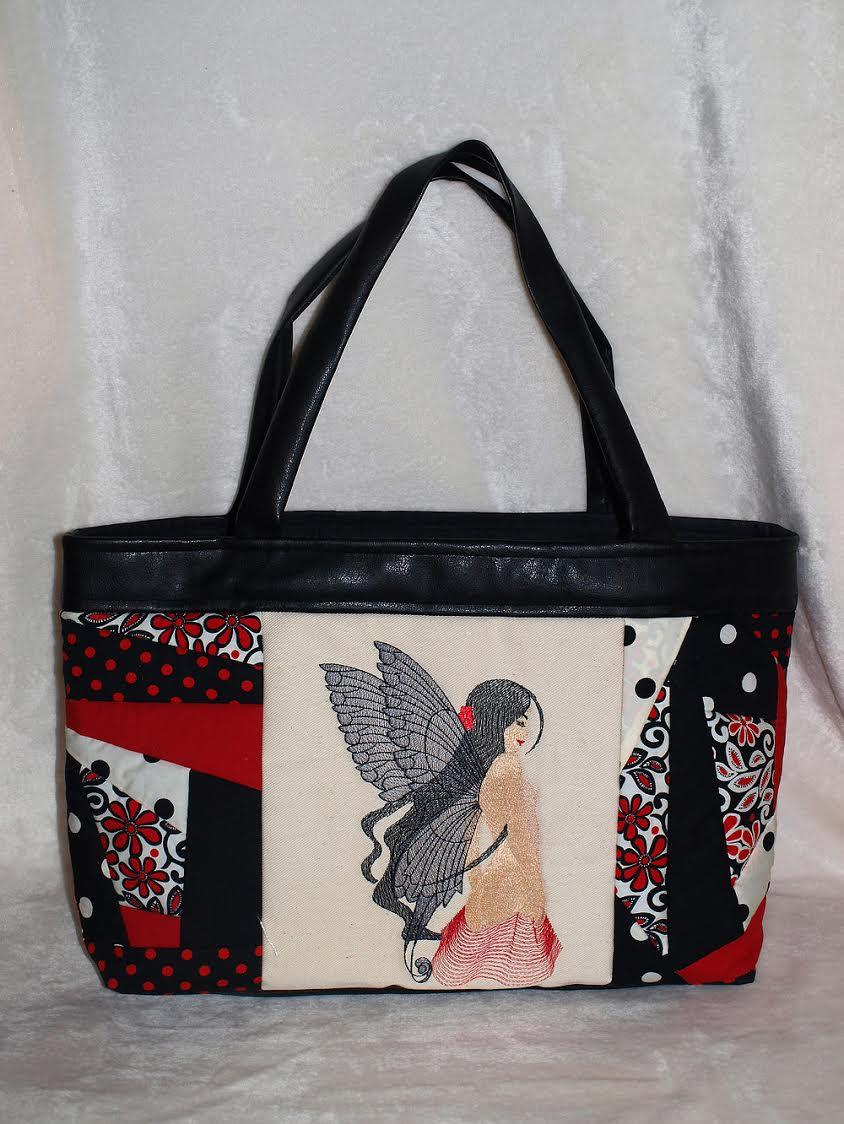 Embroidered bag with young fairy with wings free design