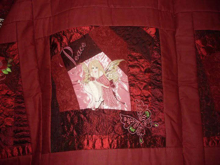Embroidered bed cover with modern fairy design